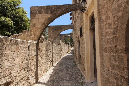 Medieval Avenue of the Knights. Greece. Rhodos island. Old town. Street of the Knights photo (Now Embassy street) photo