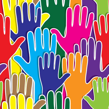 People support hand like heart united seamless background  Vector pattern illustration