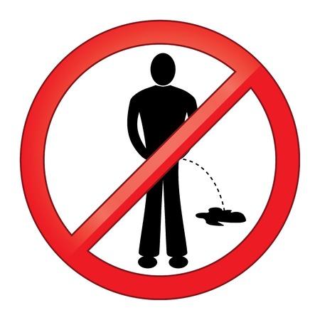 urinating: Symbol No Urinating  Isolated on White Background, vector illustration