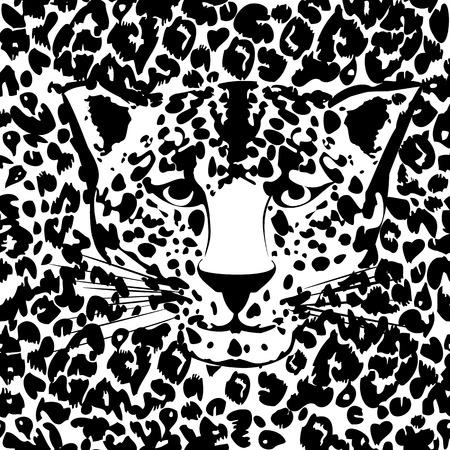 Seamless animal fur pattern vector  Cheetah, leopard tiger head skin texture  Vector