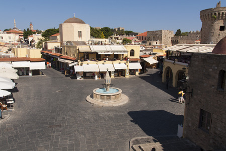 hippocrates: Medieval fountain Hippocrates square in historic Old Town of Rhodes Greece photo