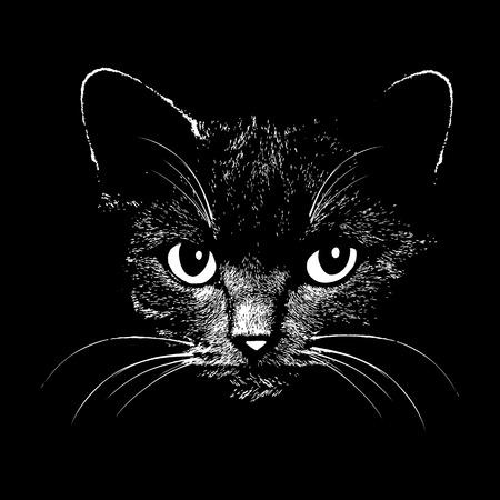 silueta de gato: Cabeza ilustración animales gato para la camiseta. Dibuje el diseño del tatuaje.