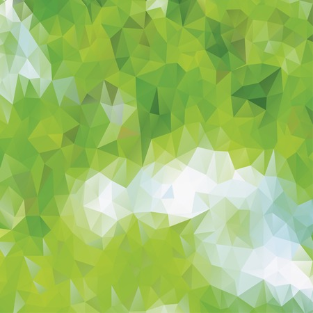 Green eco pattern of geometric shapes. Spring mosaic banner. Geometric triangle vector hipster background. Иллюстрация