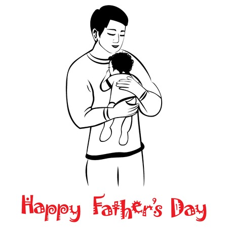 Dad and child in lovely hug  Fathers day card  Happy young man holding baby, isolated on white  Vector