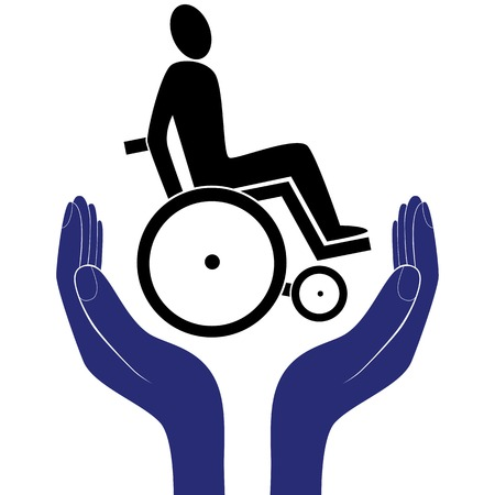 nurse home: disabled invalid care sign vector protection sign vector hand in people encouragement help.