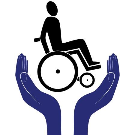 gehandicapte ongeldig zorg tekenen vector bescherming teken vector hand in mensen aanmoediging hulp. Vector Illustratie