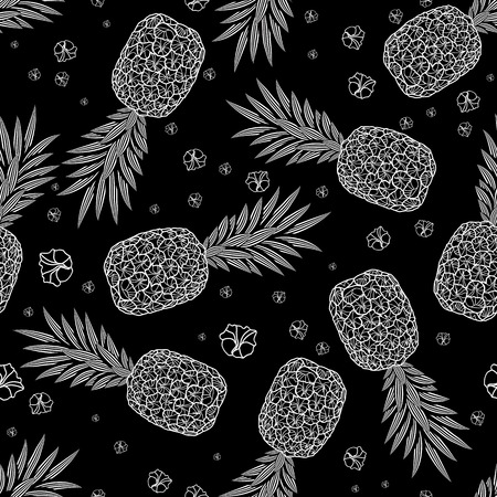 Pineapple seamless pattern. Graphic stylized drawing.