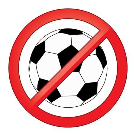 No hay juegos de pelota, fútbol, ??fútbol ilustración vectorial prohibido signo Foto de archivo - 29465521