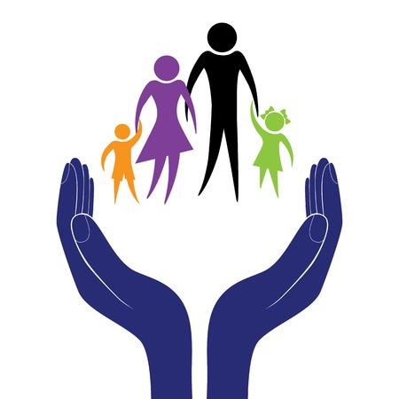 aide à la personne: Main dans la population encouragement de l'aide. Illustration