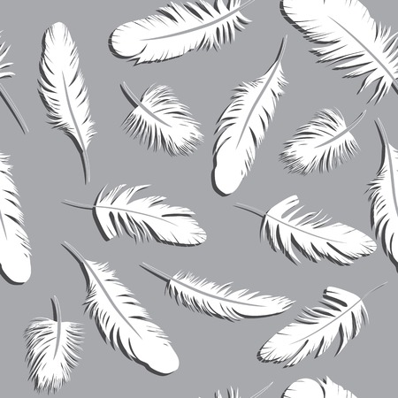 a literary sketch: Seamless Feather Pattern vector illustration background sketch