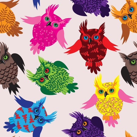 owl eyes: Owl bird seamless icon vector detail background illustration with floral pattern
