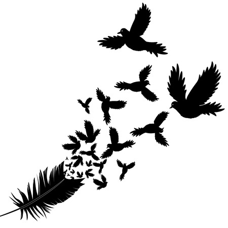 flocks: Feather of bird vector illustration sketch tattoo