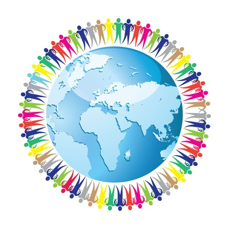 Community of people joined around the globe  Social network  Land and a group of people eps10 Vector