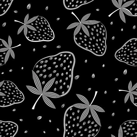 Seamless vector strawberry pattern  Berry isolated on black background  Vector