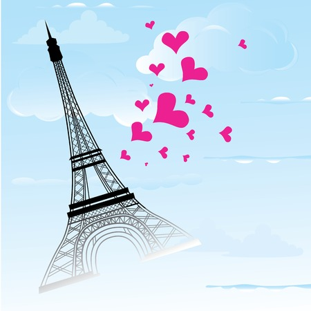 Paris town in France card as symbol love and romance travel, eiffel tower with hearts vector illustration Vector
