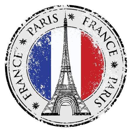 frances: La ciudad de París en Francia sello de bandera del grunge, ilustración vectorial de la torre Eiffel