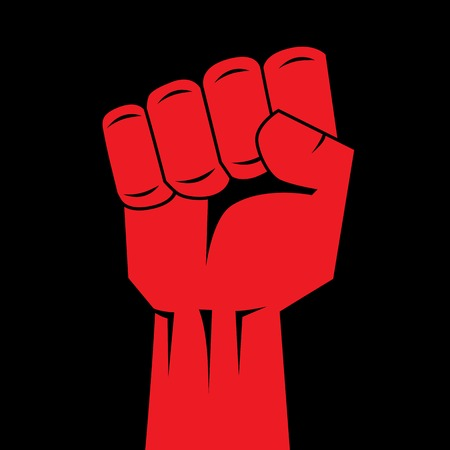 strength in unity: Fist red clenched hand vector. Victory, revolt concept. Revolution, solidarity, punch, strong, strike, change illustration. Easy to change color.