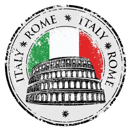 flavian: Grunge rubber stamp with Colosseum and the word Rome, Italy inside, vector illustration