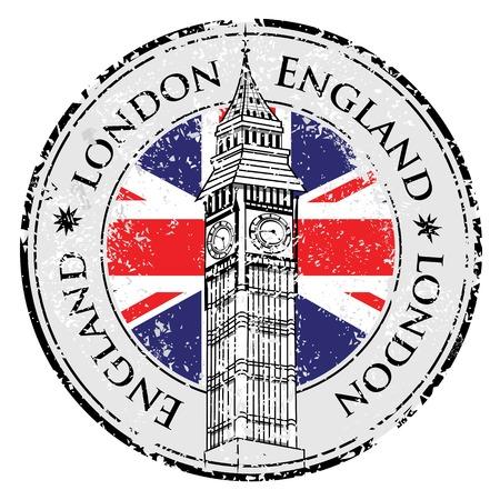 print: Gummi Grunge Stempel London Gro�britannien, Big Ben-Turm und britische Flagge Vektor
