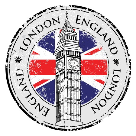 Rubber grunge stamp London Great Britain, Big Ben tower and British flag vector Çizim