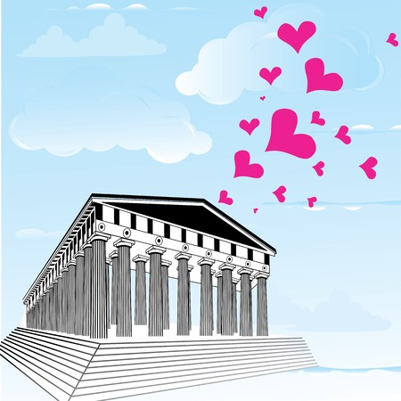 parthenon: Greece acropolis with heart symbol of valentines day. Parthenon illustration.