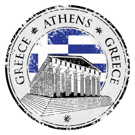 parthenon: Blue grunge rubber stamp with the Parthenon shape from Greece and the name Greece written inside the stamp Illustration