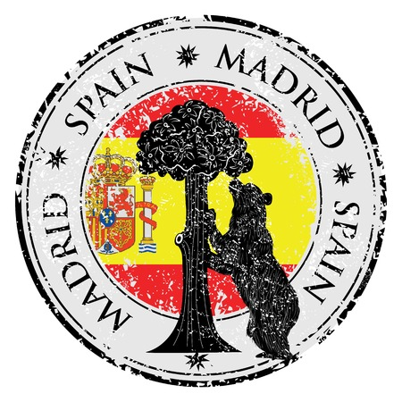 sol: Grunge stamp with statue of Bear and strawberry tree and the words Madrid, Spain inside, vector illustration
