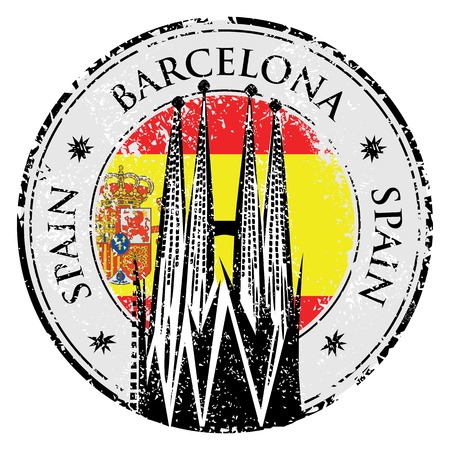 Grunge rubber stamp of Barcelona, Spain, vector illustration of Sagrada Familia Çizim