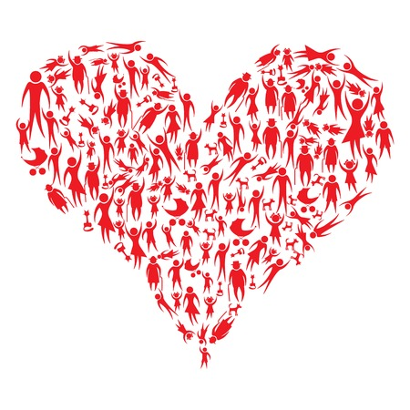 Red icon people and pets forming a big heart illustration Vector