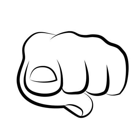 hand pointing finger at viewer, from front illustration
