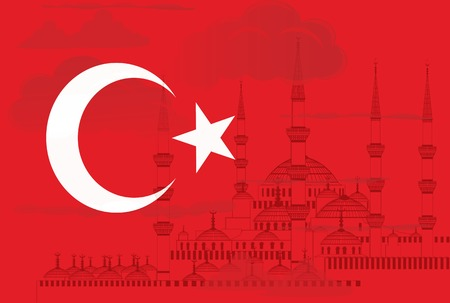 hagia sophia: Turkey symbol with Blue mosque in Istanbul vector