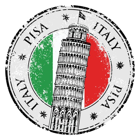 national flag: Stamp Pisa tower in Italy, vector illustration