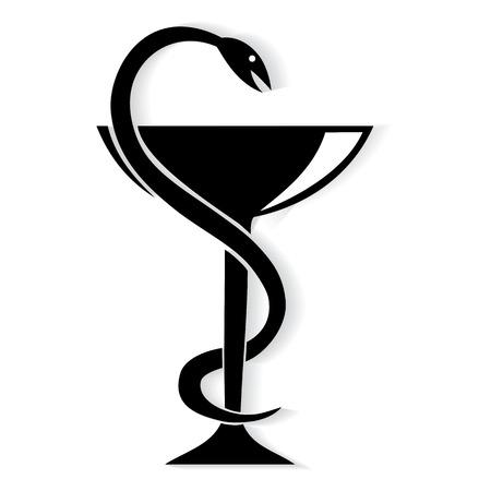 esculapio: S�mbolo Farmacia serpiente m�dica y la copa. Vector emblema para farmacia o medicina.