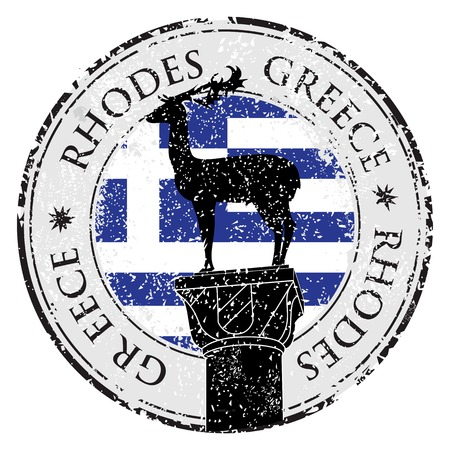 Grunge rubber stamp with the Rhodes Island, Greece written inside, vector illustration Vector