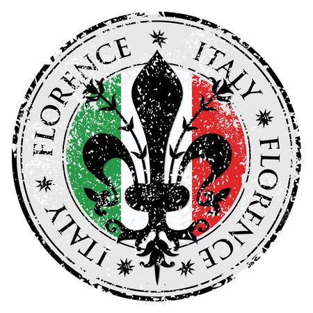 Los flor de lis de Florencia, destino del viaje grunge sello de goma con el símbolo de Florencia, Italia en el interior, ilustración vectorial Ilustración de vector