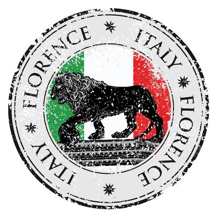 florence italy: Viaggi destinazione grunge timbro di gomma con il simbolo di Firenze, la statua di un leone, l'Italia dentro, illustrazione vettoriale