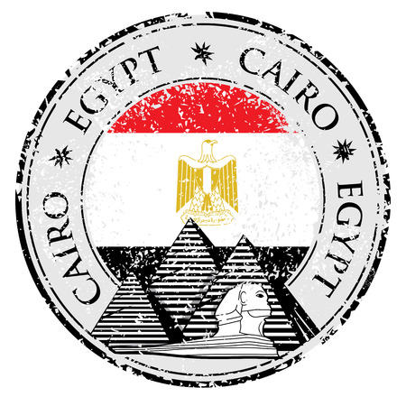cairo: Grunge rubber stamp with Pyramid and the word Cairo, Egypt inside, vector illustration
