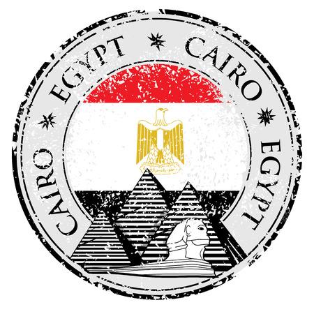 bandera de egipto: Grunge sello de goma con la pir�mide y la palabra de El Cairo, Egipto interior, ilustraci�n vectorial