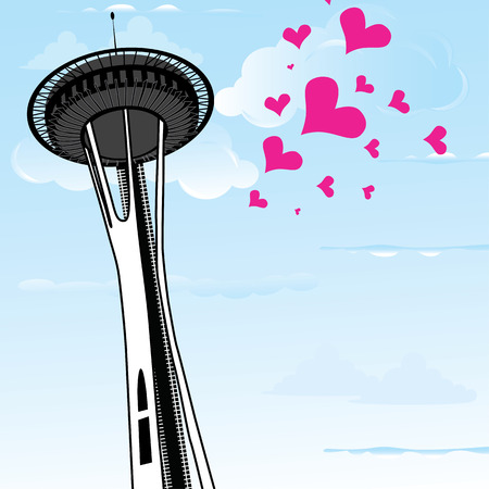 Famous Space Needle an observation tower of Seattle, Washington, and a lot of hearts as symbol of love to the Seattle. Vector illustration. Illustration