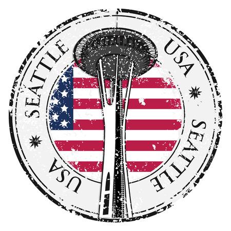 Grunge rubber stamp with name of Washington, Seattle, vector illustration Illustration