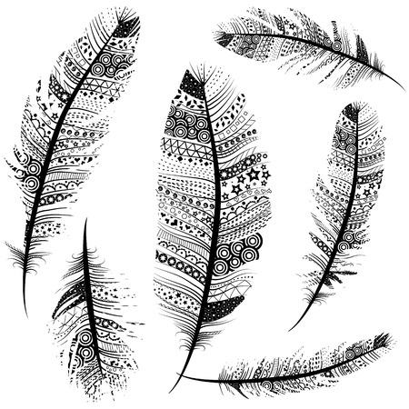 tribales: Bosquejo de la vendimia inconsútil Plumas tribales Patrón conjunto de vectores ilustración de fondo. Vectores