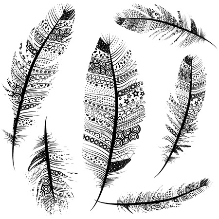 Seamless Vintage Tribal Feathers Pattern vector set illustration background sketch. Иллюстрация