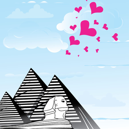cheops: Pyramid and sphinx sphinks objects as travel love to the Cairo, Egypt , heart vector illustration