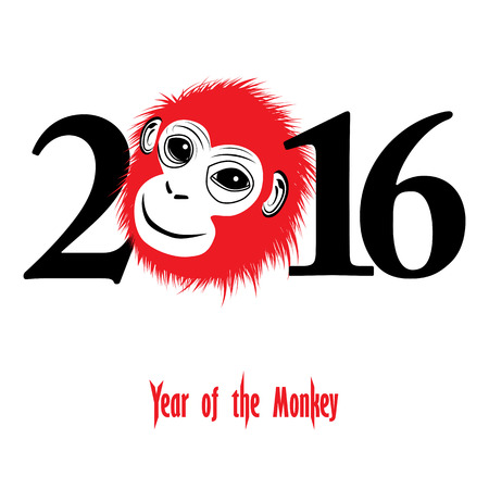 The Year Of Monkey Chinese Symbol Calendar In Red On Figures