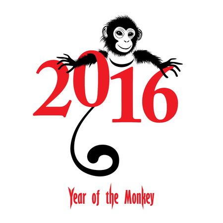 texts: The year of monkey Chinese symbol calendar in red on figures vector illustration. Chinese new year 2016 Monkey year . Illustration