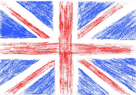 grunge union jack: Flag of UK, pencil drawing vector illustration Illustration