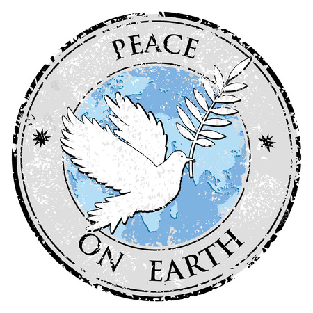 peace stamp: Bird dove as peace symbol stamp. International peace day emblem vector Illustration