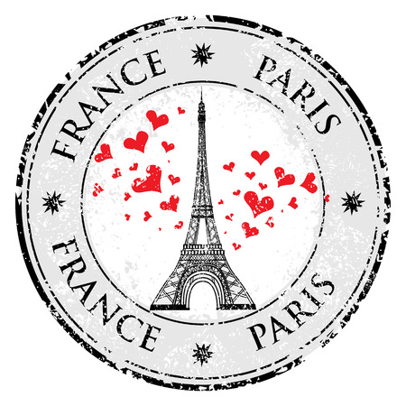 Paris town in France grunge stamp love heart eiffel tower vector valentines day illustration