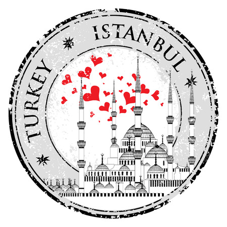 I Love Istanbul Design stamp vector with heart The Blue Mosque Çizim