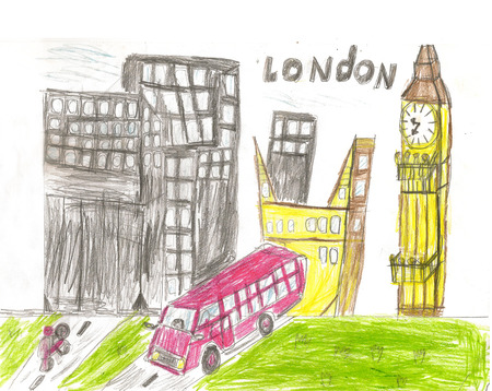 European capital sketch London by kid style background colors illustration illustration